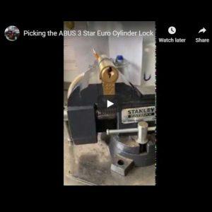 Glasgow locksmith picking a ABUS Euro Cylinder lock